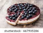 Blueberry Cheesecake On Wooden...