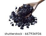 black salt of cyprus on a... | Shutterstock . vector #667936936