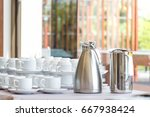 group of coffee cup in a row...   Shutterstock . vector #667938424