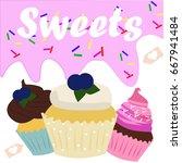 vintage cupcake poster design...   Shutterstock .eps vector #667941484