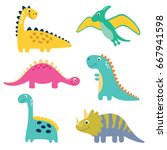 cute vector dinosaurs isolated... | Shutterstock .eps vector #667941598