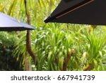 drops of water on the umbrella | Shutterstock . vector #667941739