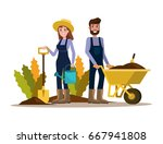 couple of gardeners. flat... | Shutterstock .eps vector #667941808