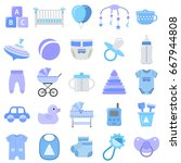 baby boy icons set. vector.... | Shutterstock .eps vector #667944808