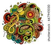 cartoon hand drawn doodles... | Shutterstock .eps vector #667945030