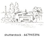 house on river. nature... | Shutterstock . vector #667945396