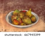 plate with figs. still life... | Shutterstock . vector #667945399