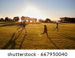 four elementary school children ... | Shutterstock . vector #667950040