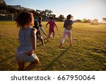 elementary school kids playing... | Shutterstock . vector #667950064