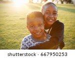 african elementary school boy... | Shutterstock . vector #667950253