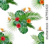 seamless hand drawn tropical... | Shutterstock .eps vector #667951423