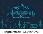 hand drawn sketch camping icons ... | Shutterstock .eps vector #667954993