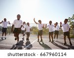 elementary school kids having... | Shutterstock . vector #667960114
