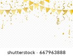 golden party flags with... | Shutterstock .eps vector #667963888