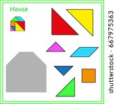 chinese puzzle tangram. cut and ... | Shutterstock .eps vector #667975363