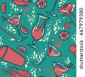 seamless pattern with cocktails ... | Shutterstock .eps vector #667979380