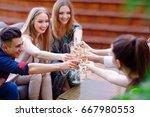 celebration. people holding... | Shutterstock . vector #667980553