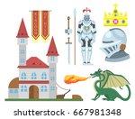 heraldic royal crest medieval... | Shutterstock .eps vector #667981348