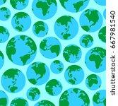 globe earth green planet world... | Shutterstock .eps vector #667981540