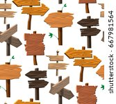 directory wooden signboard road ... | Shutterstock .eps vector #667981564