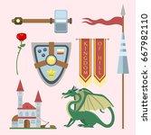 heraldic royal crest medieval... | Shutterstock .eps vector #667982110