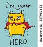 Stock vector cartoon vector card with cute hero cat 667983658