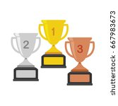 gold  silver and bronze trophy... | Shutterstock .eps vector #667983673