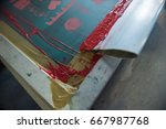 screen printing frame and mesh...   Shutterstock . vector #667987768