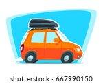 car journey. cartoon car side... | Shutterstock .eps vector #667990150