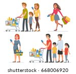 different people shopping in... | Shutterstock . vector #668006920