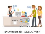 retail woman cashier with... | Shutterstock . vector #668007454