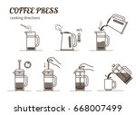 coffee brewing cooking... | Shutterstock . vector #668007499