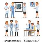 doctors characters collection.... | Shutterstock . vector #668007514