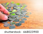 plant coins saving growth up to ... | Shutterstock . vector #668023900