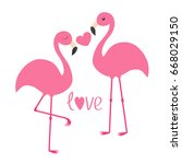 pink flamingo couple and heart. ... | Shutterstock .eps vector #668029150