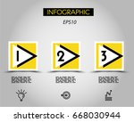 three yellow infographic... | Shutterstock .eps vector #668030944