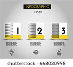 three infographic squares with... | Shutterstock .eps vector #668030998