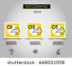 three infographic squares with... | Shutterstock .eps vector #668031058