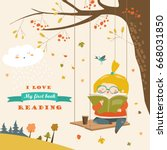 cute girl swinging and reading... | Shutterstock .eps vector #668031850