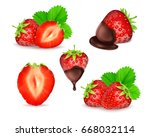 strawberry with slice ... | Shutterstock .eps vector #668032114