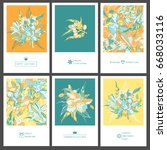 set of tropical greeting flyers ... | Shutterstock .eps vector #668033116