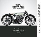 vintage motorcycle poster | Shutterstock .eps vector #668035906