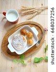 breakfast  bread  milk and... | Shutterstock . vector #668037256