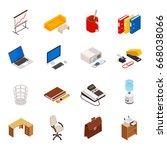 big set of 3d isometric... | Shutterstock .eps vector #668038066