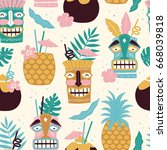 vector seamless tiki drinks... | Shutterstock .eps vector #668039818
