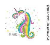 unicorn head. t shirt graphic... | Shutterstock .eps vector #668045806