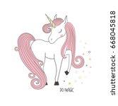 magical unicorn. t shirt... | Shutterstock .eps vector #668045818