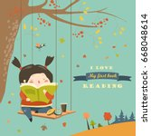 cute girl swinging and reading... | Shutterstock .eps vector #668048614