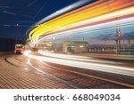 public transportation at night. ... | Shutterstock . vector #668049034