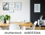 black and white dining room... | Shutterstock . vector #668053366
